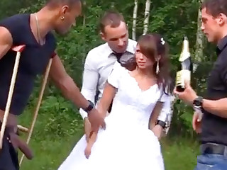 Russian link up enjoys an interracial gang-bang outdoors