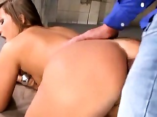 Anal fuck with hairy broad in the beam titted babe