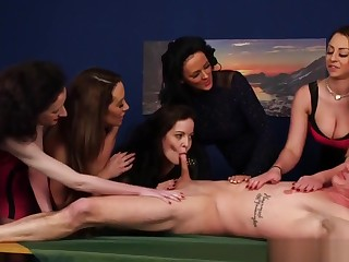 Adorable Cfnm Babes Begrimed Lucky Dudes Cock