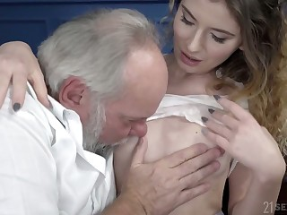 Serbian young chick Candice Demelzza is fucked by venerable ugly dude