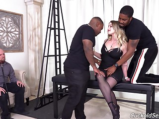 Threesome fucking in all holes of Kenzie Madison - cuckold
