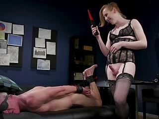Lewd ladyboy in stockings Shiri Allwood fucks throat and anus of team a few dude