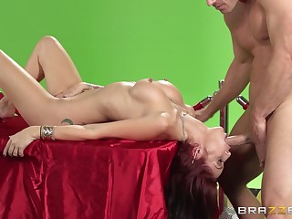 Kinky sex on the table with a big locate and Monique Alexander