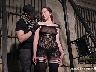 Submissive whore Alora Lux does naked squats involving hammer away BDSM gym