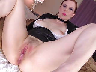 Cock hungry redhead Lady Fyre drops their way panties for hardcore sex