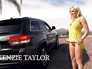 Roadside whore Kenzie Taylor is flashing hairy pussy in public