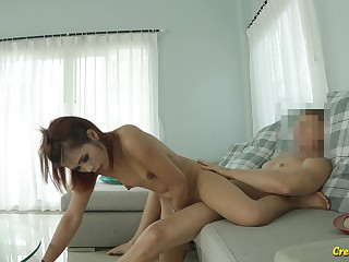 Naughty natural Asian cutie feels great in the matter of riding strong cock