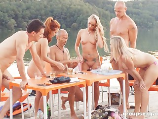 Crazy foursome fucking by the sea with Geena Gain and Cut away Diamond