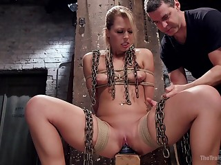 Handsome guy destroys Zoey Monroe's shaved cunt with his monster cock