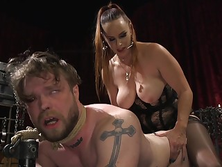 Get up to slave is on his hands and knees getting pegged by Bella Rossi