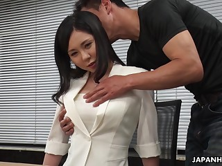 Modest Asian girl Miyuki Ojima is fucked and creampied unconnected with horny co-worker