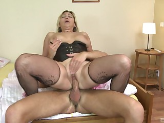 Auntie gets the dick hard added to soaked in her cunt