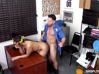 Fucked on the desk after being entangled misusing