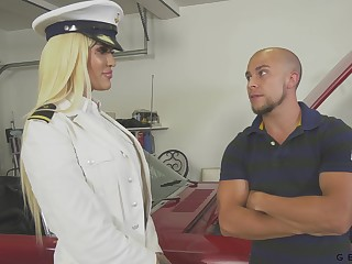 Transsexual captain Nadia Be in love with gets a mouthful of cum after crazy anal sex
