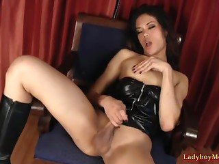Skirt-less Thai shemale Vickee is sitting chiefly the arm-chair and massaging her dick.