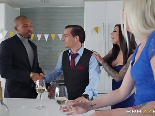 Busty MILF gets working with hubby's black liaison right-hand man
