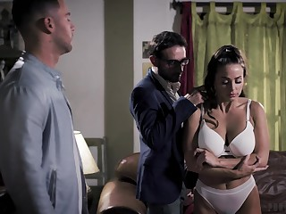 Four brutal guys fuck seductive toddler Abigail Mac in mouth and pussy