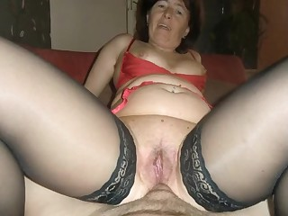 Dirty granny gets a floor anal and creampie