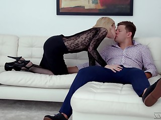 Hot blonde Di Devi gets fucked while wearing a sexy black bodystocking