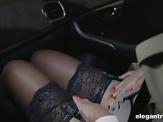Hot Russian babe Anna Polina shows stockings upskirt beside french policeman