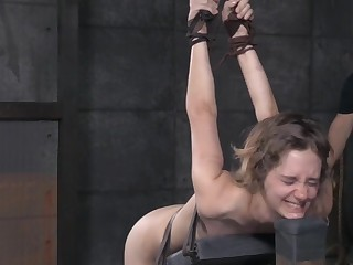 Half-starved bungling babe Mercifulness West cries during rough torture session