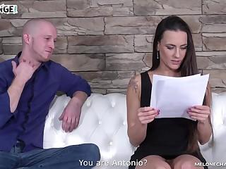 Sexy MILF pornstar sucks an layman guy's cock upon love