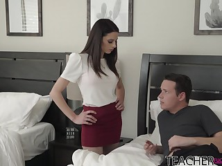 Sexy teacher Eva Long helps her student to get rid of a boner