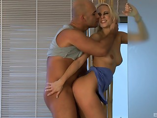 Irresistible Carla Cox gets pounded in get under one's take a crap by her lover
