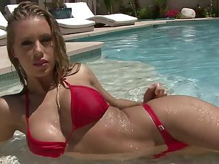 Red rio thong bikini strip