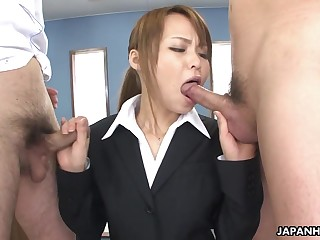 Appetizing plump office Japanese lady gives both titjob and unerring blowjob
