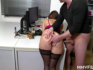 Sultry place nymph is oft-times wearing Stygian pantyhose and getting analed rigid, while at work