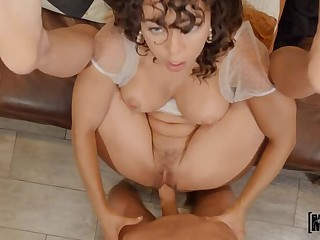 Balk Hairy Pussy Pounding of Busty Squirter