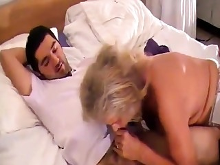 Hot granny about stockings fucks her toyboy